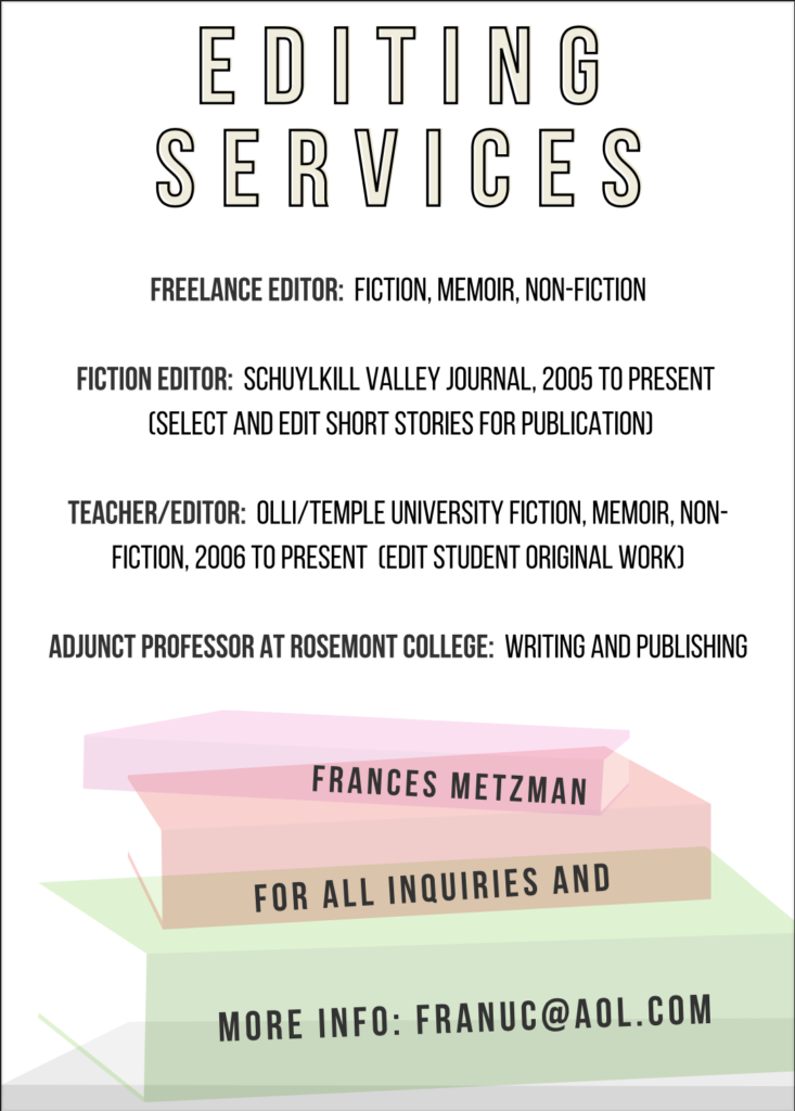 writing editing services in Philadelphia by Frances Metzman